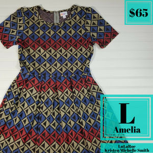 LuLaRoe Amelia Pleated Dress with Pockets